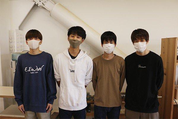 2班メンバー左から井上太翼さん、泉伯斗さん、大田翔平さん、大杉駿介さん