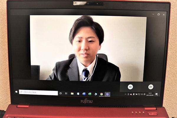 住宅業界で設計の仕事に就きたいと語る市岡幸貴さん(建築工学科3年)