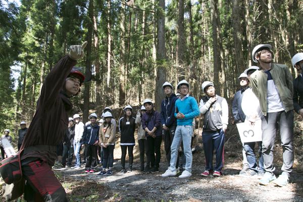 現場では安田林業の方々に指導を受けました。まずは、チェーンソーを使った間伐作業の様子を見学。