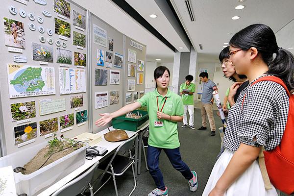 瀬戸内海沿岸に生育する本物の海浜植物を展示し、フィールド調査の方法などについて解説。天然記念物のカブトガニの標本も展示しています。(地球環境学科)
