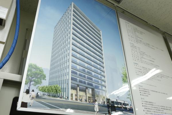 見学したのは、広島市中区に建設中の複合型オフィスビル「スタートラム広島」。完成すると地上16階の建物になります。