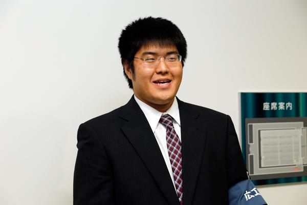 スポーツ講演会の実行委員長を務めた岩崎正幸君(工学部電子情報工学科・3年)「一流の方の講演からスポーツの素晴らしさを感じていただき、日々の生活の糧にしてもらえたらうれしいです」