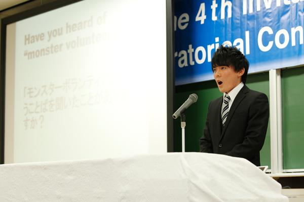 白石朗光さん(地球環境学科・2年)の、ボランティアを奨励する固定概念に疑問を投げかけるテーマが印象的でした。