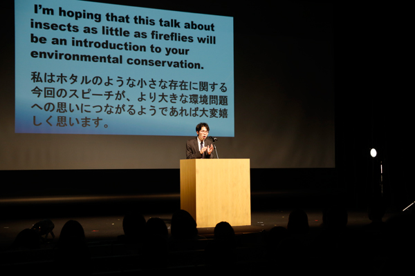 E.S.S.は、ホタルの放流と環境問題をテーマに英語スピーチを披露。リズムに乗せて楽しみながら英語を覚えていくので、自然と英語に対する苦手意識もなくなっていくそうです。