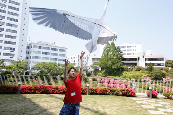 人力飛行機同好会「HIT SKY Project」は、鳥の形をした「バイオカイト」を飛ばしていました。人力飛行機同好会は、今年の夏に開催される「鳥人間コンテスト」に初出場する予定です。