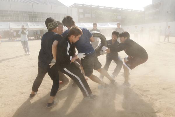 すさまじい砂嵐の中で激突する「タイヤ奪い」は人気の名物競技。迫力満点で、見る方も力が入ります。