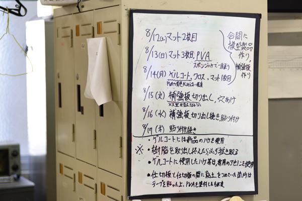 部室のホワイトボードには、大会までのスケジュールがびっしりと書き込まれています