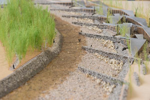 堤の先には、竹で組んだ三角状の屋根を配置。下のスペースをレストランなどに活用します。反対側のスペース(写真左側)は遊水林として活用。竹の根切を行って生育を管理しつつ、野生動植物が生息できるビオトープにします。