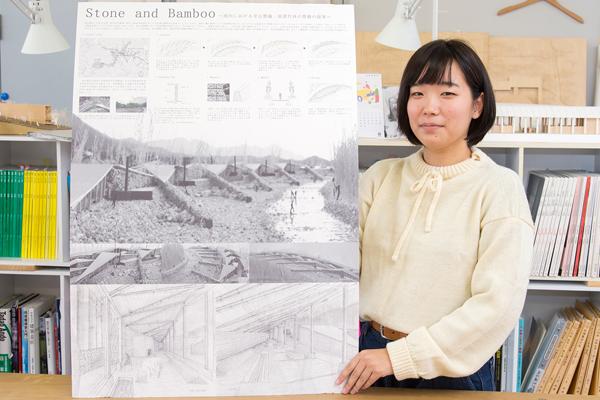 手描きのパースを多用した提案書。竹と石による里山機能向上というコンセプトをよく表している、と評価を得ました。