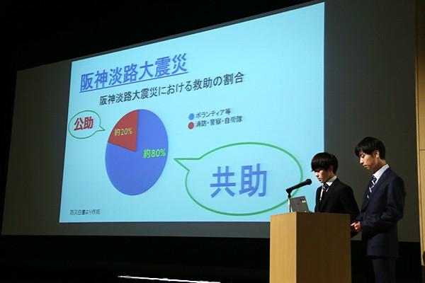 阪神淡路大震災の救助割合は、消防・自衛隊(公助)が20%、ボランティアなど一般の方(共助)が80%。共助の防災意識向上がいかに大切であるかを伝えます。