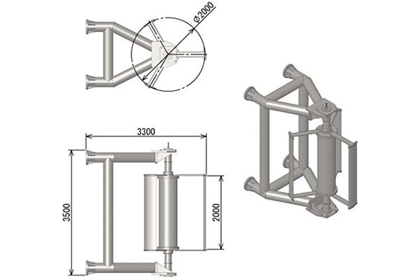 小型潮流発電装置の模式図。ブレードの回転を直接、発電機に伝える「ダイレクトドライブ方式」を採用した円筒形の発電機です。発電機本体は高さ、ブレードの回転径ともに2mというコンパクトなもの。その本体を、高さ3.5mのフレームが支えます。