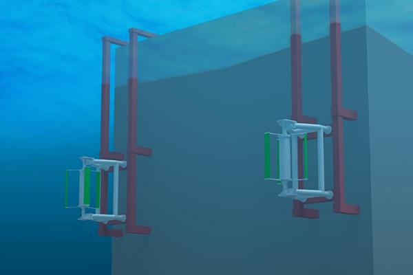 小型潮流発電装置を橋脚・港湾構造物に取り付けたイメージ図。構造物周辺に創出される流速が大きくなる領域(加速域)に複数の発電装置を設置することで、よりたくさんのエネルギーを取得できます。
