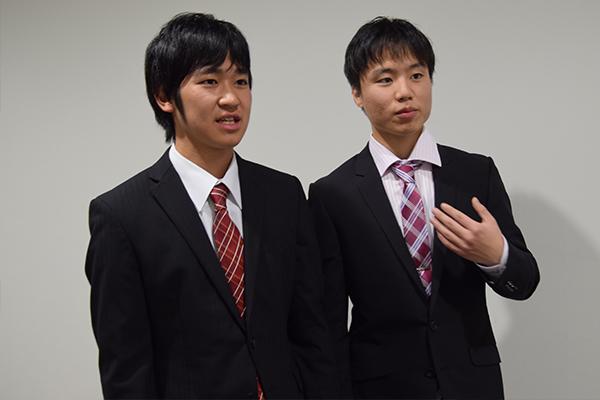 浅田さん(左)と水島さん(右)は、報告会のために念入りに準備してきました。特に3月に入ってからは、毎日2人で発表練習を繰り返したそうです。