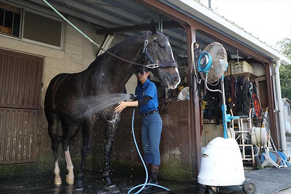 練習後はシャワーで体をきれいに。