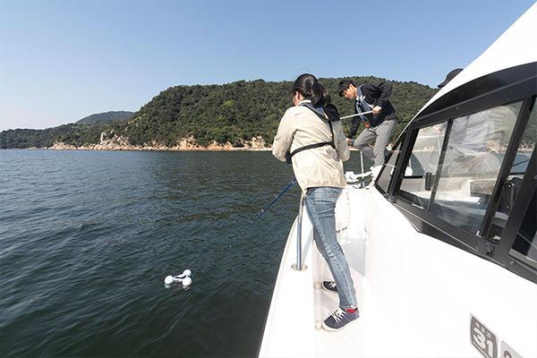 2番めの観測スポット、宮島沖で実験開始。