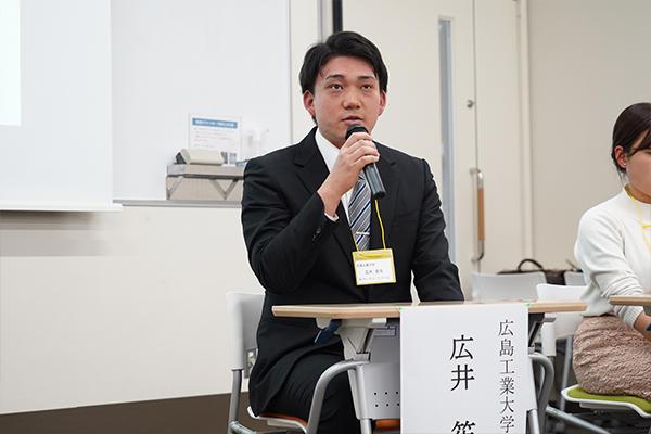 テーマ3は留学経験学生によるパネルディスカッション。本学からは広井笙太さん(知能機械工学科4年)が参加者に留学経験を語りました。